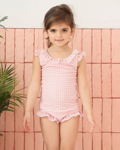 画像1: 凸凹生地の子供フリルモノキニ水着