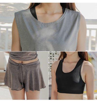画像2: スポーツブラとショーツと袖なしTシャツとスカートと4点セット