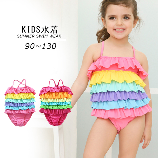 画像1: 日本品質の高品質フリルドレスKIDS子供水着 (1)
